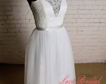 Deep V lining Wedding Dress with Grey Sash Short Underlay Skirt with Long Layered Tulle Overlay Bridal Gown Sheer Lace Back Wedding Gown