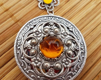 Autumn Sunset Locket - round silver filigree and glass amber gem - yellow topaz november birthstone wedding bridal bridesmaid floral fall