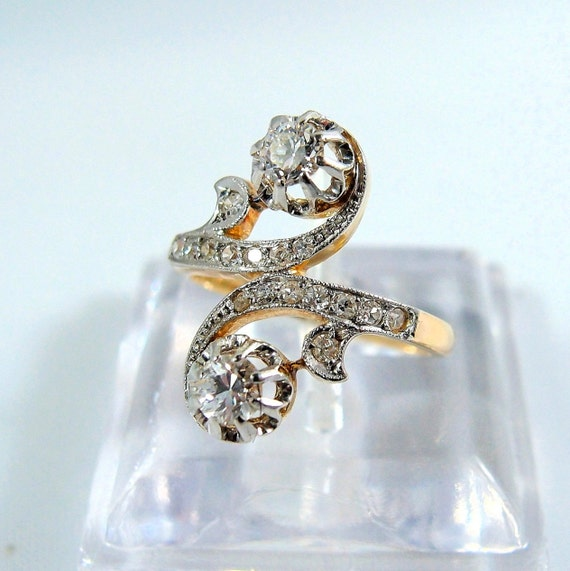 double diamond ring 18k stamped white and yellow gold