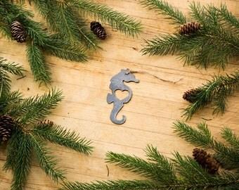Heart Seahorse Metal Ornament