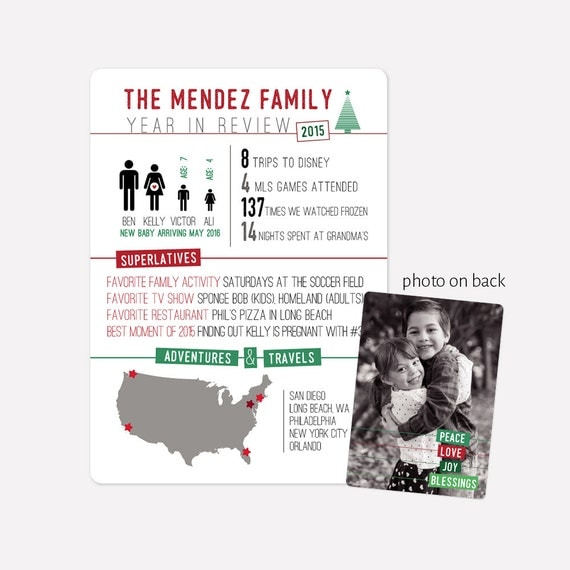 Infographic Photo Holiday Card - Year in Review - Include photo on back