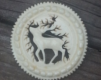 Vintage Christmas Pin, Christmas Brooch, Reindeer Brooch, Holiday Pin, Vintage Reindeer, Antique Christmas Jewelry, Hand Carved Deer Brooch