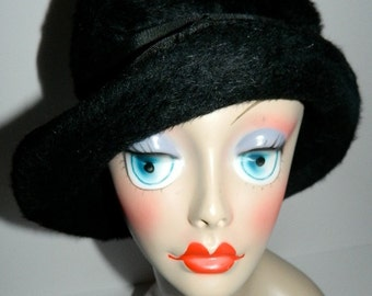 Vintage Fur Felt Black Bowler Derby Hat Union Made in Canada 22""