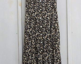 Brown Floral Dress. Button Down Dress. CALICO Dress. Sleeveless  90 GRUNGE Dress. Floral Grunge Sundress. Fall Dress. 1990s INDIE Dress.