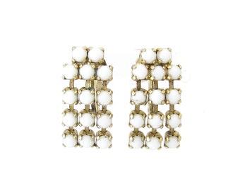 Vintage White Glass Earrings, Dangles, Gold Tone, Screw Backs, Signed BMCo
