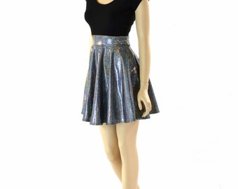 Silver Holographic Skater Dress with Black Zen Bodice & Cap Sleeves  152298