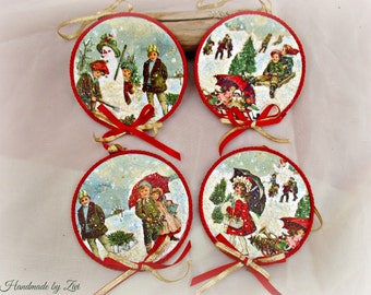 Decoupage victorian children christmas ornament set of 4, victorian ornament, Christmas tree, Christmas decoration, tree ornament, gift idea