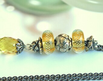 925 Silver Fantasy necklace with a Amber