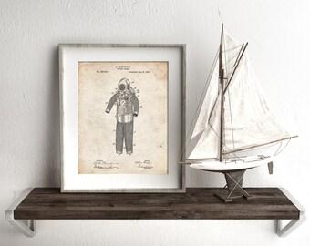 Hemenger Diving Armor Poster, SCUBA Diving, Diving Helmet, Nautical Art, PP0343