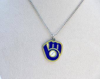 Milwaukee Brewers Necklace, Milwaukee Brewers Jewelry, Brewers Necklace, Brewers Accessory, Baseball Necklace, Brewers Jewelry, Brewers