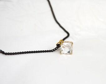 Black Choker,clear crystal choker,chain choker, black chain choker,Simple Choker, choker necklace,Bridesmaid Gift, glass stone
