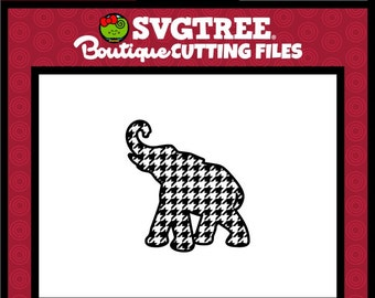 Houndstooth SVG Elephant SVG Houndstooth Elephant SVG Commercial Free Cricut Files Silhouette Files Digital Cut Files svg cuts