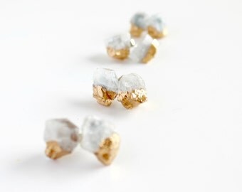 Aquamarine earrings - bridesmaid earrings - aquamarine stud earrings - raw stone earrings -march birthstone- stone earrings- bridesmaid gift