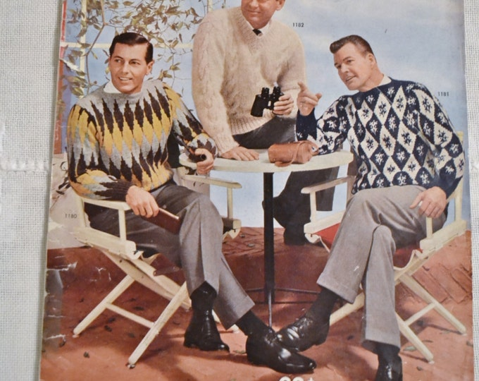Hand Knits for Men 1961 Bear Brand Fleisher Yarns Sweater Vintage Instructions DIY Panchosporch