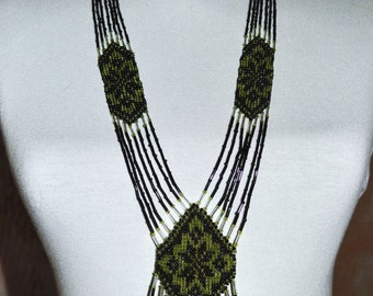 Beadwork necklace. Gerdan. Beaded Necklace. Black green necklace