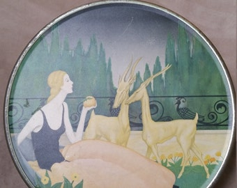 Loose-Wiles Biscuit Company Tin with Woman in an Antilope Garden.
