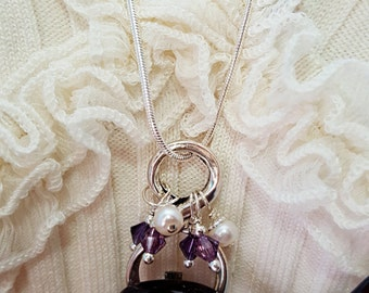 Eyeglass Chain, Glasses Necklace, Amethyst Necklace, Eyeglass Holder, Figure 8, Swarovski, February Birthstone, Mom Necklace, Wife, N5710