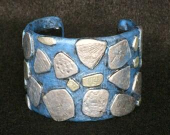 Cuff Bracelet Bangle Boho Polymer Clay Mid Century Modern Jewelry FOSSIL24 by Donna Pellegata ArtCirque