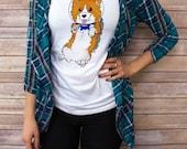 Women's Space Corgi T shirt, V Neck, tank top, Baseball Tee, sweatshirt, S, M, L, XL