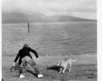 Vintage Photo..Playing Fetch 1950's, Original Photo, Old Photo Snapshot, Vernacular Photography, American Social History Photo