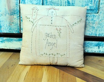 Embroidered Pillow Primitive Decor Country Chic Tea Stained Muslin pillows Americana Folk Art Decor Garden Angel Homespun Country Rustic