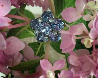 Vintage Blue Rhinestone Petite Flower Brooch Pin