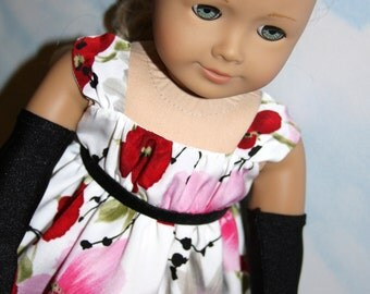 18 Inch Doll (like American Girl) Red and Pink Floral Formal Gown with Black Gloves