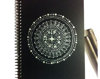 Mandala Sketch Book, Art Journal, Spiral Notebook, Travel, Blank Journal,  Black, Silver & White mandala design