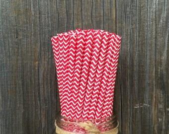 100 Red Chevron Straws -- Birthday, Valentine, Christmas Party, Picnic Supply -- Free Shipping!