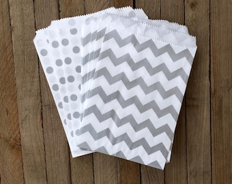 48 Silver Favor Bags--Chevron and Polka Dot Favor Bag--Candy Favor Bag--Chevron Goodie Bags--Chevron Party Sack--Birthday Treat Sacks