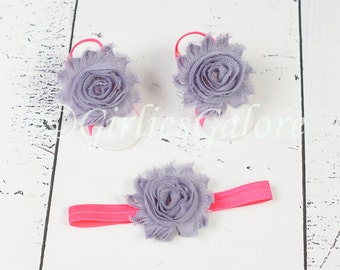 BUY 2 GET 1 FREE---Hot Pink Gray Baby Barefoot Sandals w/ matching headband, Baby Barefoot Sandals, Baby Sandals, Baby Headband, Baby Shoes