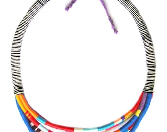 Thread Wrap African Necklace - Statement Necklace - Cotton Rope Necklace - Tribal Masai Necklace - Rope Jewelry - African Jewelry