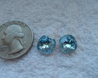 6 vintage Swarovski crystals, aquamarine, cushion cut, 10mm, art 4470, gold foiled