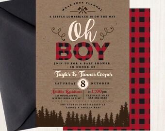 Lumberjack Baby Shower Invitation Plaid Wilderness Camping Invitation Buffalo Plaid Invitation Free Shipping IBS0002