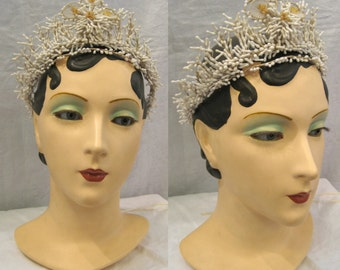 ornate vintage white floral bridal tiara headpiece