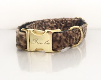 Adjustable leopard dog collar