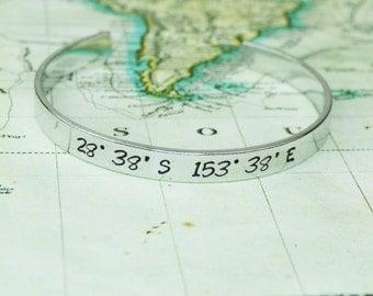 Coordinates Aluminum Copper or Brass Bracelet - Latitude Longitude