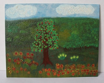 Apple Tree in the Landscape - Oil Painting