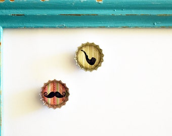 Set of 2 Cute Hipster Mustache and Pipe Mini Bottle Cap Magnets