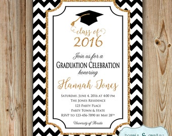 Graduation Party Invitation  - College Graduation Invitation - High School Graduation Party Invitation - Class of 2016 DIGITAL FILE to PRINT
