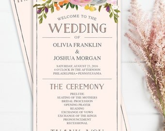 Wedding Program Template - Sweet Blooms 4x8 Wedding Program - DIY Editable Wedding Program - DIY 4x8 Program - Instant Download