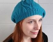 Knitted blue leaf beret for women, warm merino wool women's hat