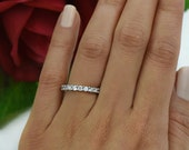 12 Stone Wedding Band, 3/4 ctw Bridal Ring, Man Made Diamond Simulants, Engagement Ring, Half Eternity Stacking Ring, Sterling Silver