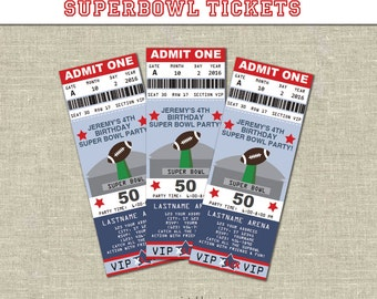 Superbowl Football Ticket Invitation- Printables- Editable Text PDF- Instant Download- Personalize- Adobe Reader- Red & Blue- Party - 50