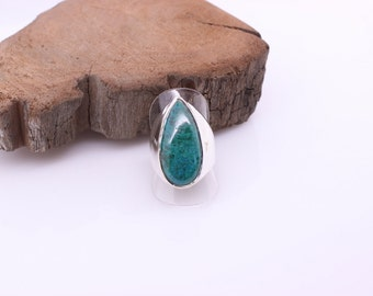 Chrysocolla ring, Natural gemstone jewelry, Gypsy jewelry, Chakra ring, Womens statement ring, Jewelry gift for her, Gemstone ring, Silver
