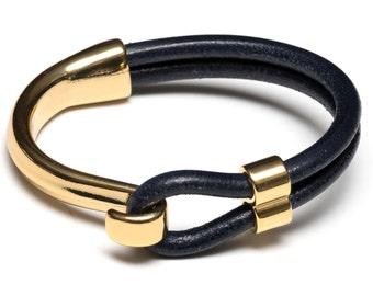 Navy Blue Leather Bracelet / Gold Half Hook Clasp Bracelet / Nautical Jewelry / Leather Bracelet / Women's Bracelet