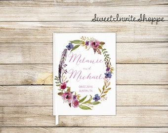 Wedding Guest Book, Wedding Guestbook, Floral Wedding Book, Modern Guest Book, Sign In Book, Hardcover Guest Book, Elegant Floral Guest Book