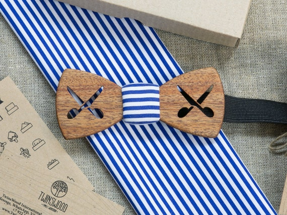 Barber Wooden bowtie marine color   + pocket square. Man wood bowtie. Men Accessories. 100% hand made. Best xmas / birthday gift. Groomsman.