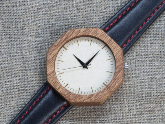 African Sapele minimal wood watch , Majestic Watch for him,  Black / Red Genuine Leather strap + Any Engraving / Gift Box. Anniversary  gift
