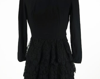 Vintage Little Black Dress by Lilli Diamond with Tiered Lace Skirt Size XS